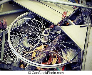 part of a bicycle in the container - part of bicycle in the...