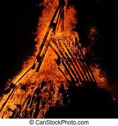 chamas, de, fogo, durante, Um, assustador, fogo,