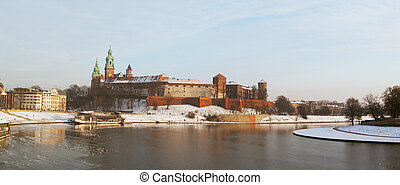 View of the Wawel castle and the Vistula River in Krakow in...