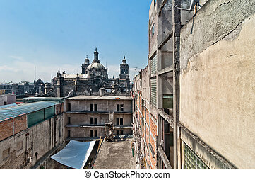 day view of Mexico City zocalo from roofs - Mexico City,...
