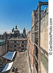day view of Mexico City zocalo from roofs - day view of...