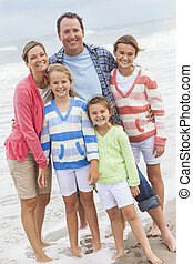 Family Parents Girl Children Vacation on Beach - Family...