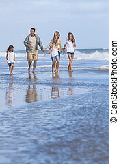 Family Parents Girl Children Walking on Beach - Family...