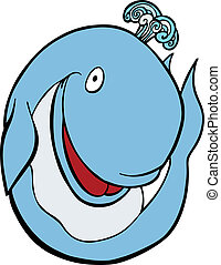 Whale Cartoon - Friendly cartoon whale spouting out water...