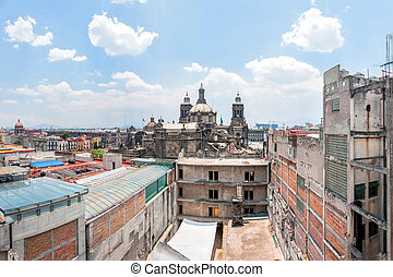 day view of Mexico City downtown from roofs - day view of...