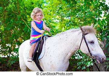 Little girl on a horse - Cute little toddler girl having fun...