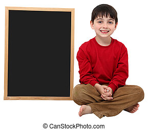 School Boy Blank Sign with Clipping Path - Adorable six year...