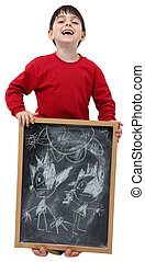School Boy Chalkboard with Clipping Path - Adorable six year...