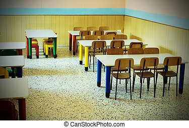 refectory of the kindergarten - lunchroom of the refectory...