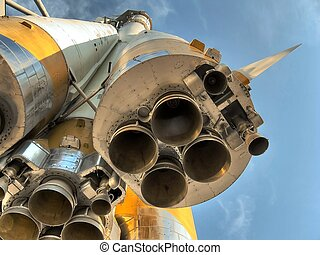 Four nozzle close. Space rocket. - Space rocket. Four nozzle...