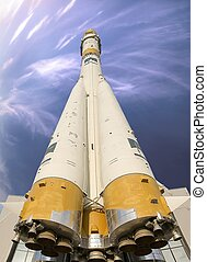 Space rocket. bottom close-up shows all stages of the rocket...