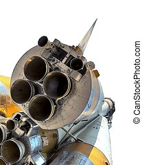 space rocket nozzle of the ship can be seen close up - space...