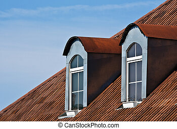 red roof and windows