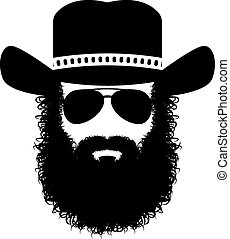 Bearded man silhouette - bearded man in a hat and...