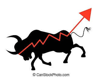 Bull Market with stock market graphic - Vector Illustration