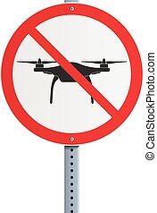 Drone prohibited - Vector illustration of round panel with a...
