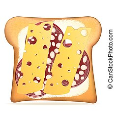 buttered toast sausage and cheese vector illustration...