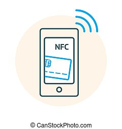 NFC technology concept. Linear illustaration of Smartphone...