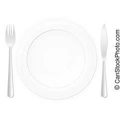 plate with fork and knife vector illustration isolated on...