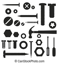 hardware screws and nails with tools symbols eps10
