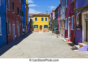 Beautiful street in Burano, near Venice, Italy