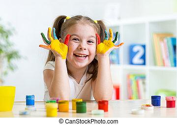 美しい, 色, ペンキ, 子供, 手, 女の子