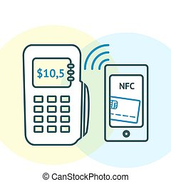 NFC technology concept. Smartphone with credit card on its...