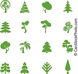 Green leaf icons set. Nature ecology image.
