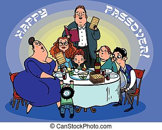 Funny Happy Jewish Passover greeting card. Vector...
