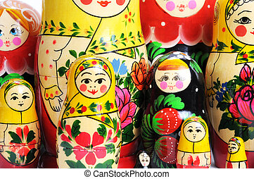 russian doll on the white - matreshka doll isolated on white...
