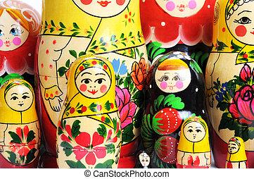 russe, blanc, poupée