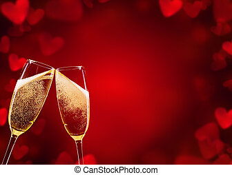 Champagne glasses - Two glasses of chamagne with abstract...