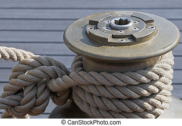 Winch - Rope tie up on a winch of a sailboat