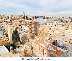 Church of the Holy Sepulchre - Jerusalem Old City - Aerial...