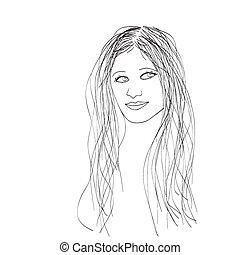 Female portrait, vector