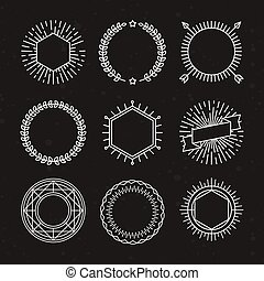 Vector set of outline emblems and badges - abstract linear...
