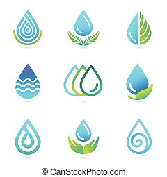 Vector water and oil logo design elements - set of ecology...