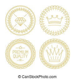 Set of linear badges - premium quality and best choice -...