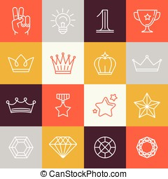 Vector winner awards and victory signs - line icons -...