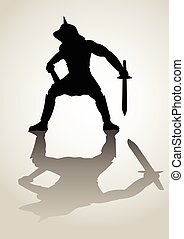 Gladiator - Silhouette illustration of a gladiator in ready...