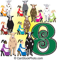 8 Ladies Milking - The 12 Days of Christmas, vector...