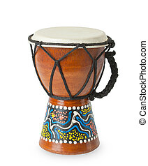 Original african djembe drum isolated on white background.