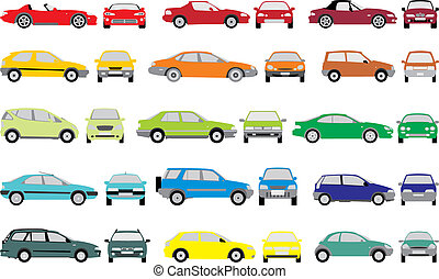 Color cars - Set icons - Color silhouettes of cars, vector...