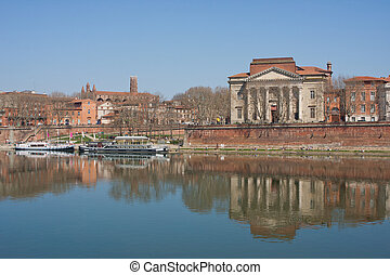 Reflections on the Garonne in Toulouse - Reflection of the...