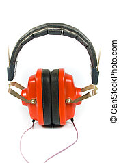 old red headphones isolated