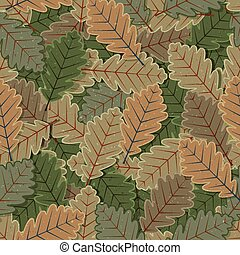 Seamless Oak Tree Leaves Background - Illustration of a...