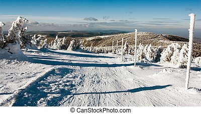 view of crosscountry skiing way and mount Serak - Jesenik...