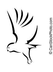 Flying Owl - Vector illustration : Flying Owl on a white...