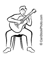 Guitar player - Vector illustration : Guitar player on a...