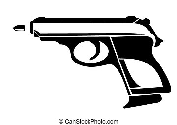 Handgun - Vector illustration : Handgun on a white...